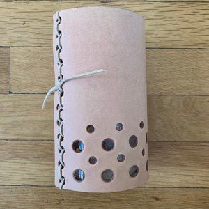 Anthropologie Leather and Glass Candle Holder/Vase